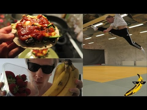 Full Day Of Healthy & Tasty Vegan Eating + Amazing Acrobatics Tricking Workout!
