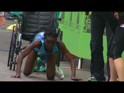 Determined marathoner Hyvon Ngetich crawls to finish line
