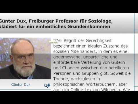 Soziologe Prof. Dux fordert das bedingungslose Grundeinkommen (1/2)