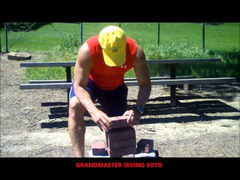 SOKE GRANDMASTER IRVING SOTO/ BREAKING  RED GRANITE BRICKS  WITH IRON PALM 2013