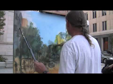 Dan Nelson painting Downtown Raleigh