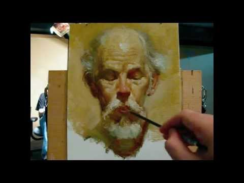 """""""The poet"""", alla prima portrait demo of Gregory, a 130 minutes painting by Zimou Tan"""