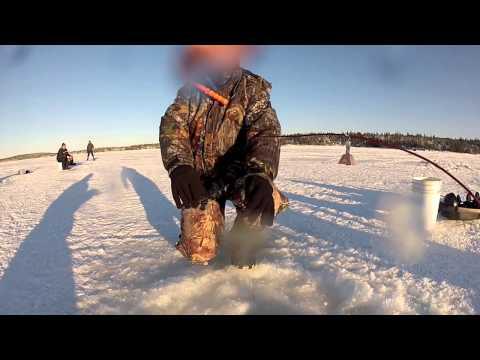 Middle Lower Gull Island Pond ice fishing, Newfoundland