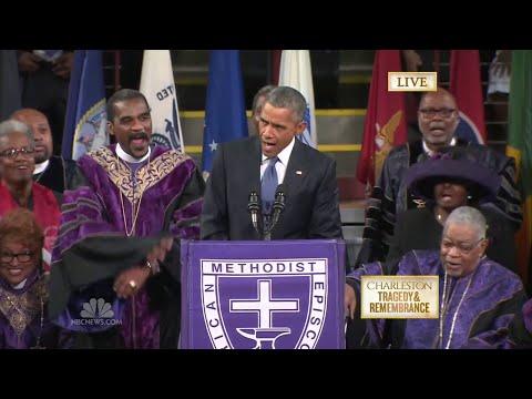 President Obama Sings 'Amazing Grace' during Eulogy at Clementa Funeral Charleston Shooting Speech