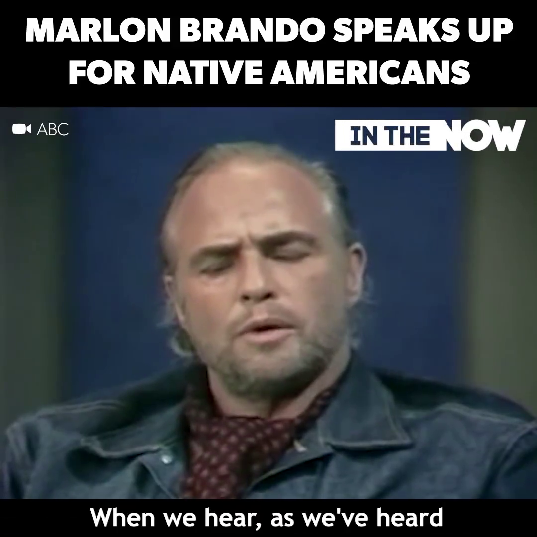 Marlon Brando speaks up for Native Americans