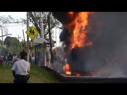 Gas tank on fire in Mona