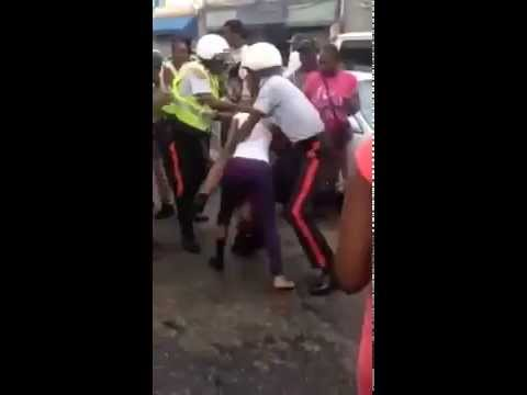 School girls ripping each other apart and fighting policemen