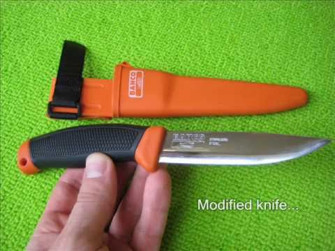 Bahco 2444 Mora knife modified for bushcraft