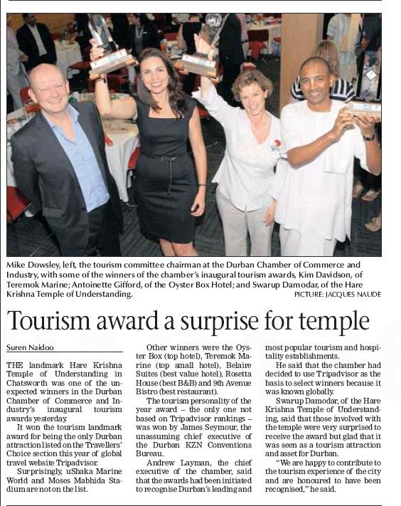 ISKCON Durban wins Tourism Awards