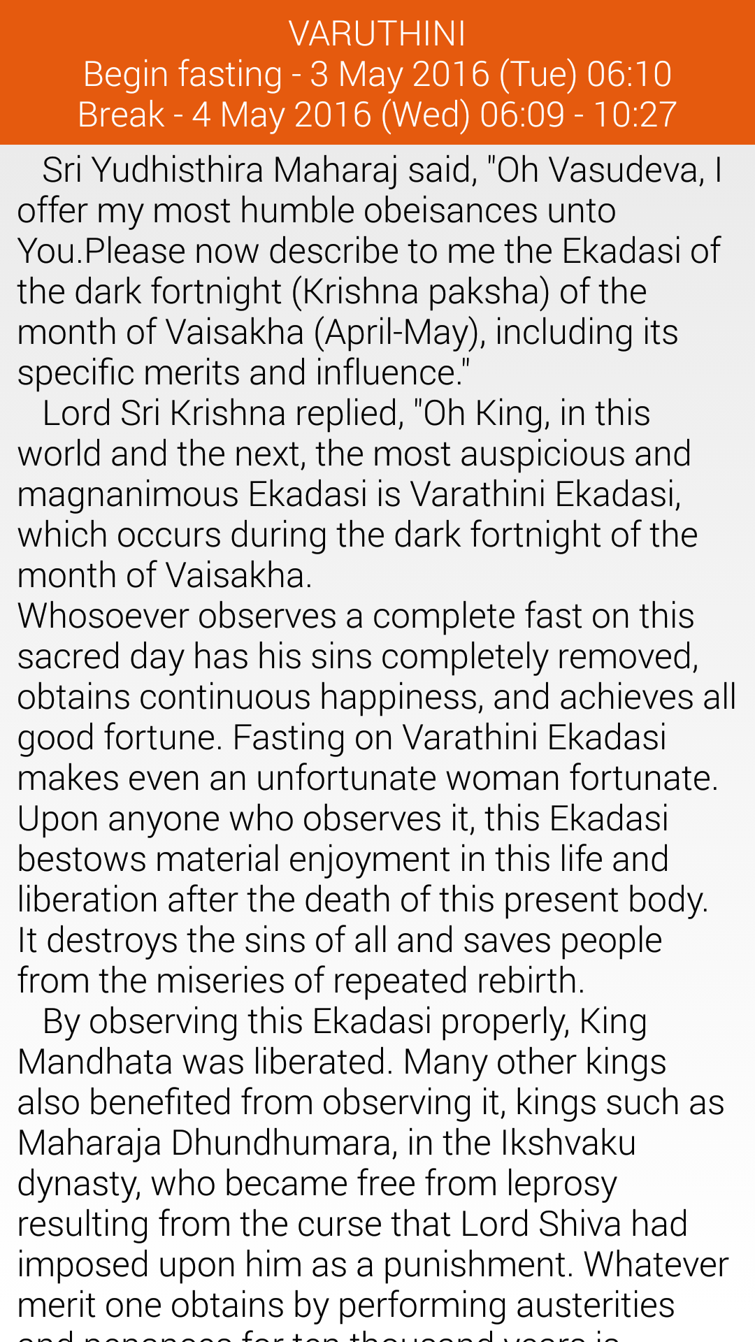 Review of Ekadashi Reminder for Android - Blog - ISKCON