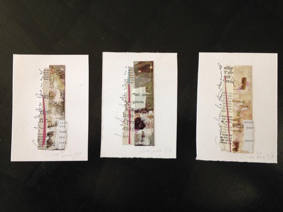 """Cinzia Farina - """"Graffiti di terra rigata"""", piccola serie di 3. For Antonio Amato, Ilya Semenenko Basin, Renata e Giovanni Strada"""