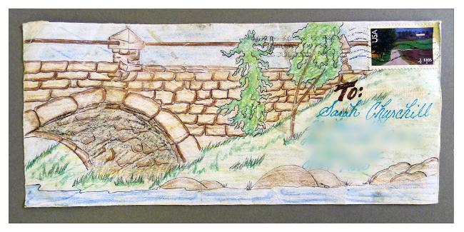 Illustrated envelope from Gene Perkins