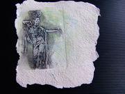 手工再生纸上印的铜版画