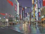 Une nuit de mousson sur Shinjuku à Tokyo