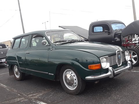 Checking Out Classic Cars With Pam 1971 SAAB Station Wagon At the Cars For Kacie