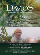 Davio's Northern Italian Steakhouse Hosts Specialty Wine Dinner with Renowned Wine Maker, Peter Merriam