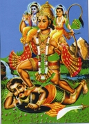 Hanuman carrying Lakshmana and Rama