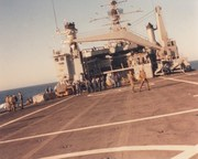 USS Vancouver flight deck roll