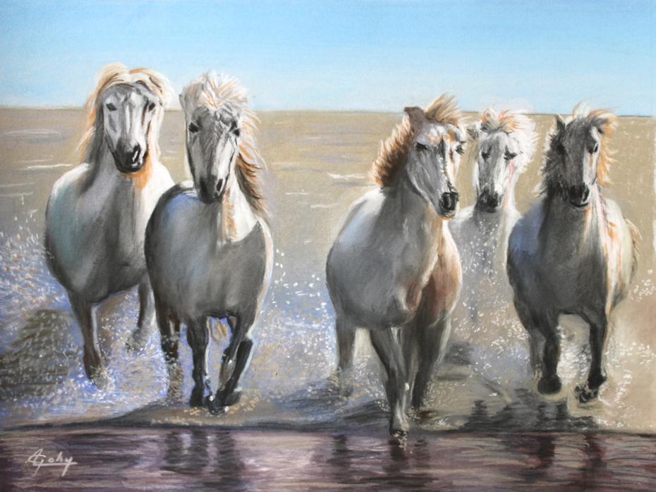 Tentée de réaliser ces chevaux de Camargue