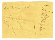 Jimmy Page and Jeff Beck autographs from 1987