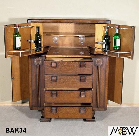 BAK34   Antique English Solid Oak Art Deco Liquor Cocktail Bar Cabinet