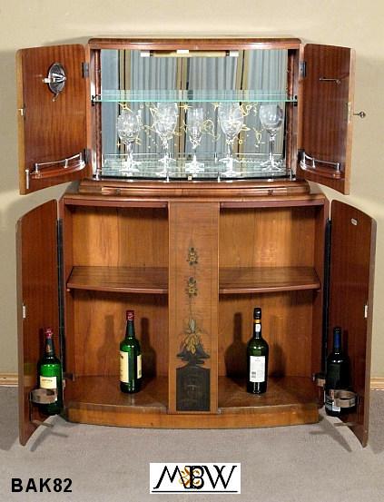 BAK82   Antique English Walnut Art Deco Chinoiserie Liquor Cocktail Bar Cabinet