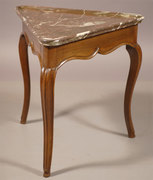 CCC99 Louis XV period Walnut Triangular Table with Marble top, France c. 1760