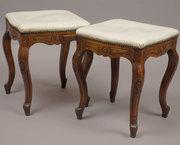 US07124 Pair Louis XV period Footstools in Walnut, France, c. 1750