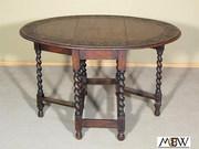 BAJ72 Antique English Solid Oak Carved Barley Twist Gateleg Dropleaf Oval Table
