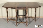BAH94   Antique English 4.5Ft Solid Oak Barley Twist Occasional Gateleg Table
