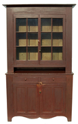JR2 Pennsylvania two piece Stepback Cupboard, with original dry red painted surface