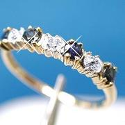 10K Gold Diamond And Ceylon Sapphire Traditional View 2