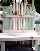hand painted picket bench