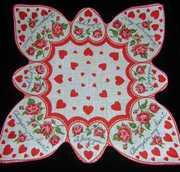 Always in My Heart STUNNING Shaped Vintage Valentines Ladies Handkerchief