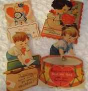 4 SWEET Design Little Boys & Girls 1920's Vintage Valentine Cards