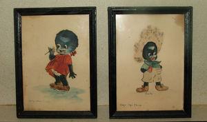 bosko and honey old framed watercolors