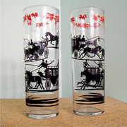Horse and Stage Coach Silhouette Glasses