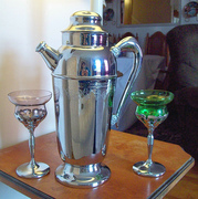 Chrome Cocktail Shaker and Cordials