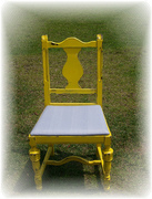 shabby toile chair before