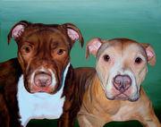 """Two Pet Portrait Painting Sample """"Pit Bulls"""""""