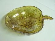 Amber Carnival Glass Grape Bowl