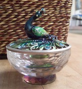 vintage peacock crystal trinket box