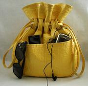 yellow vinyl vintage handbag