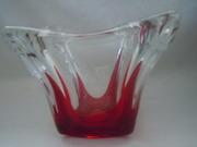 red drip heavy crystal vase