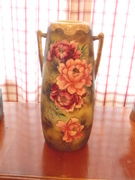 ANTIQUES VASE  VERY COLORFUL WITH EARS.