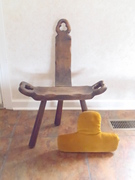 FROM EUROPE PRIMITIVE HANDCARVED LABOR BIRTHING CHAIR.
