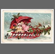 postcard- christmas, dolls on sleigh