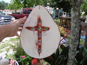 Marble cross on wood..$21