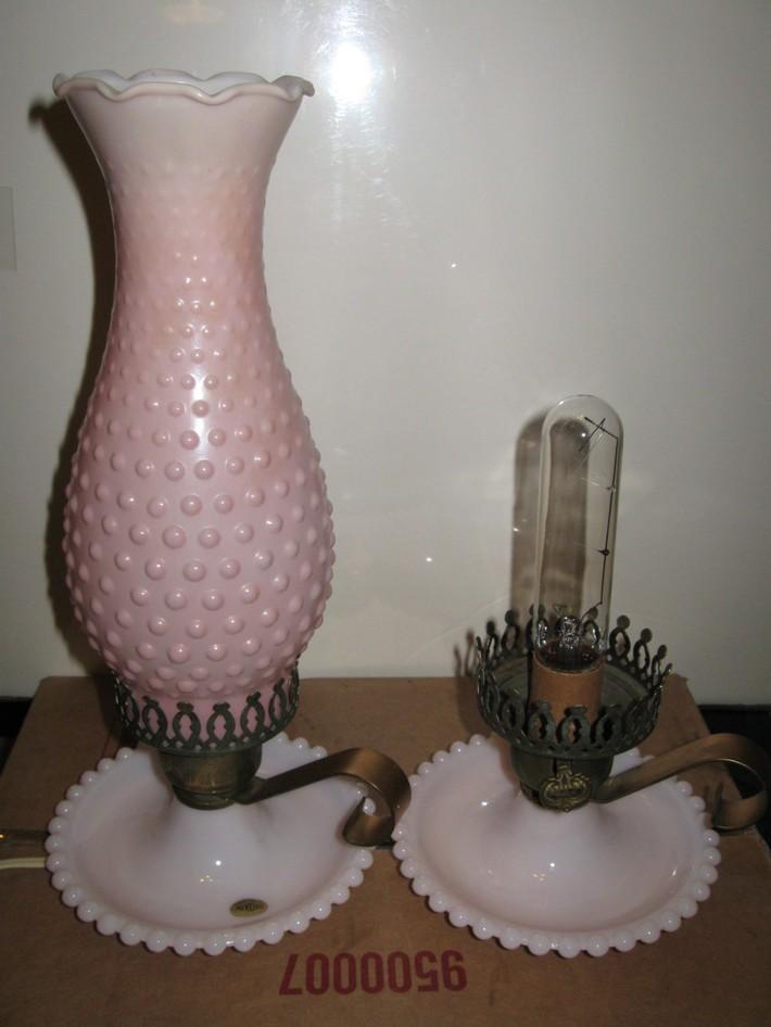 Pair Vintage Pink Milk Glass Hobnail Lamps