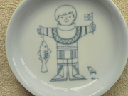 Vintage Bing and Grondahl Coaster Antoni Blue Boy With Flag and Bird